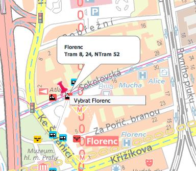 Výběr Florence z mapy